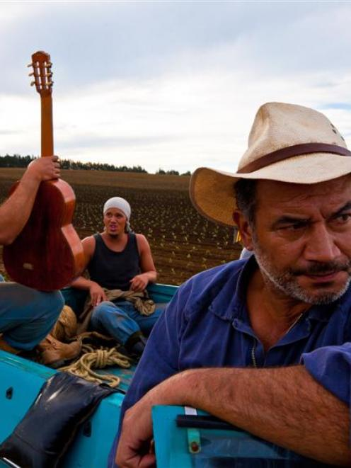 Temuera Morrison (front right) play's Stan Walker's (centre) potato-growing father in Mt Zion....