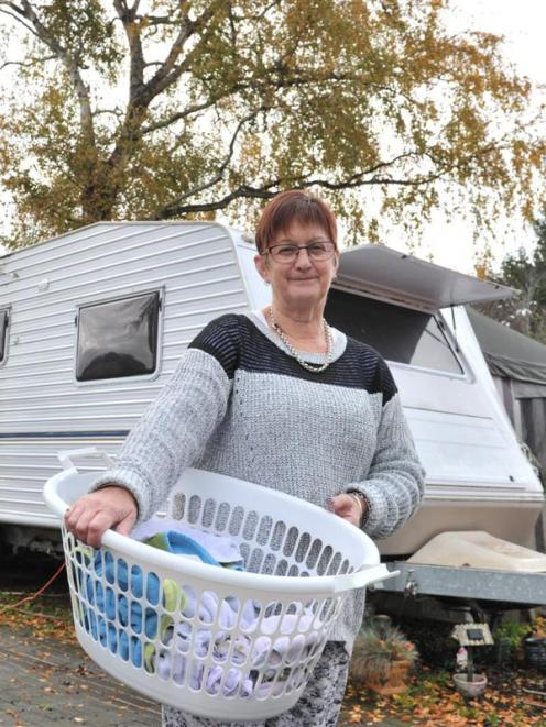 Terena Letham, has no regrets about living in a caravan in Mosgiel. Photos by Linda Robertson.