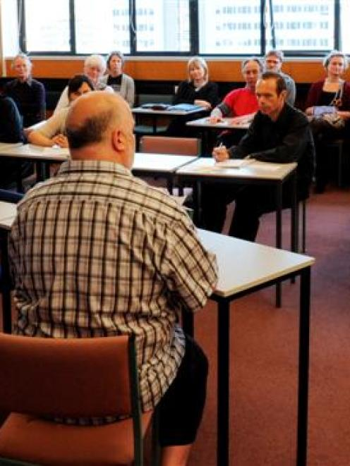 Tertiary Education Union Otago branch chairman Craig West speaks at the launch of a campaign...