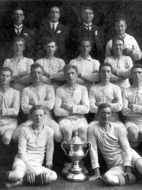 The 1923 Seacliff football team that won the first Chatham Cup. Players are (third row, from left...