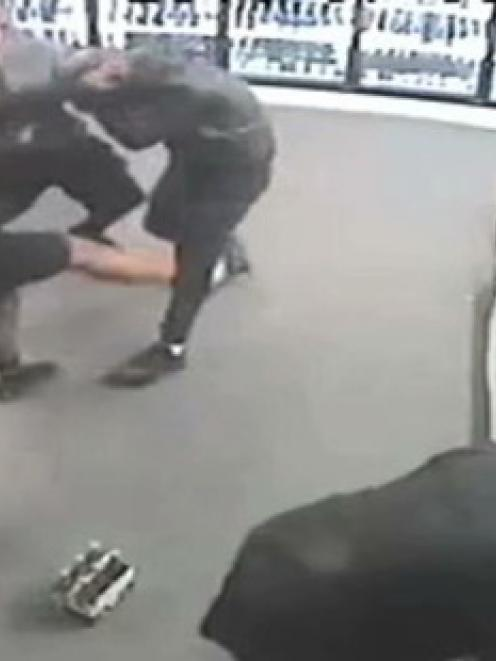 The attack was captured on the store's CCTV camera.
