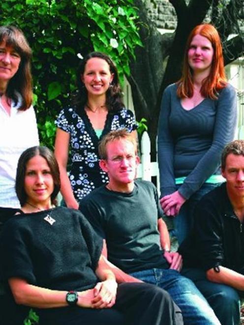 The BeeTeam: (seated from left to right) Vanina Vergoz, Jamie McQuillan, Dr Kyle Beggs; (standing...