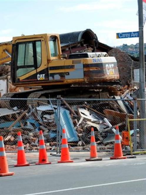 The Brocklebank building in South Dunedin was demolished yesterday after a year-long battle with...