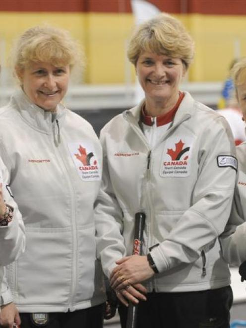 The Canadian women's team that won the gold medal at the world senior curling championships in...