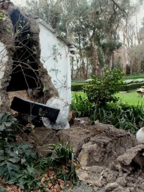 The cob walls of  a Seddon house crumbled in  yesterday's 6.6-magnitude quake. Photo by Bejon...