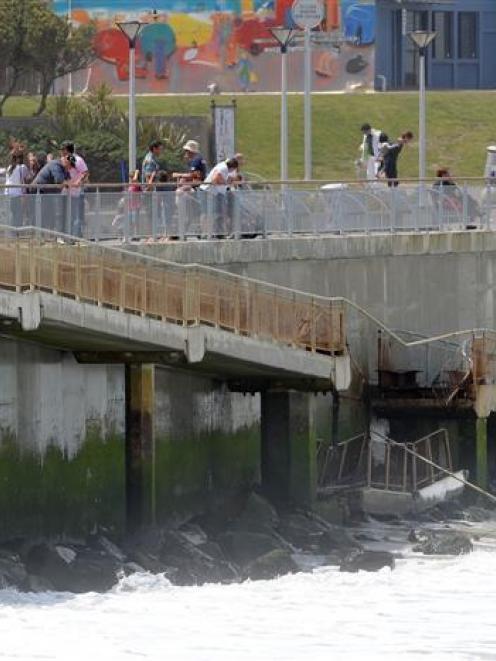 The collapsed St Clair beach seawall ramp. Photo by Craig Baxter.