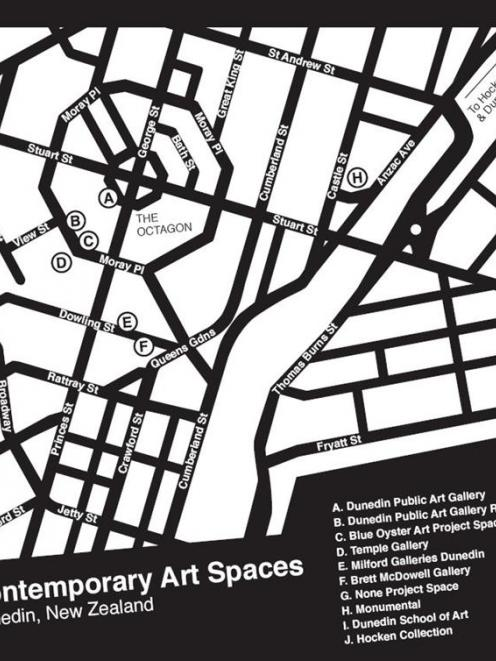 The controversial map, which lists only a selection of Dunedin art galleries. Image supplied.