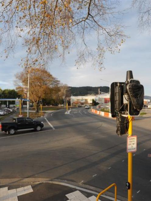 The corner of Frederick St, Dunedin (left) and Anzac Ave (State Highway 88) and the entrance to...