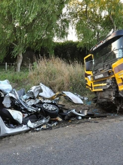 The crash scene: The family had come to New Zealand to help their daughter settle into her new...
