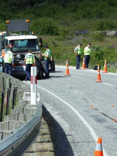 The crash scene where two motorcyclists died on the Lindis Pass in November 2012. Photo by Lynda...