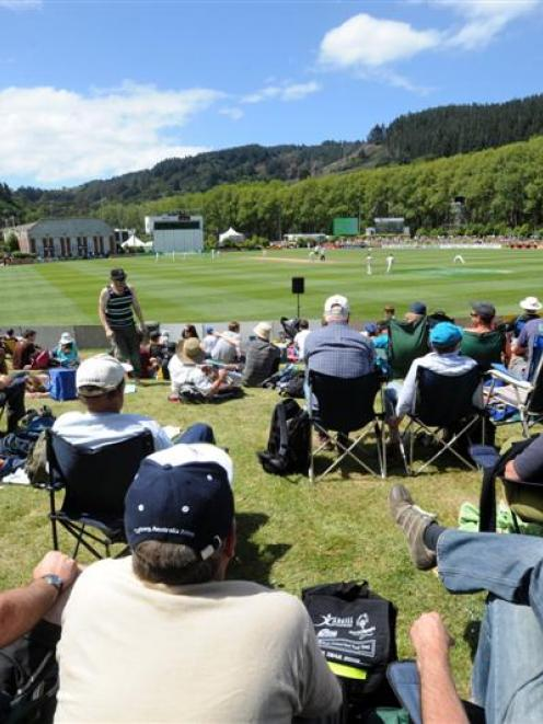 The crowd during the test between New Zealand and Pakistan at the University Oval in 2009. Photo...