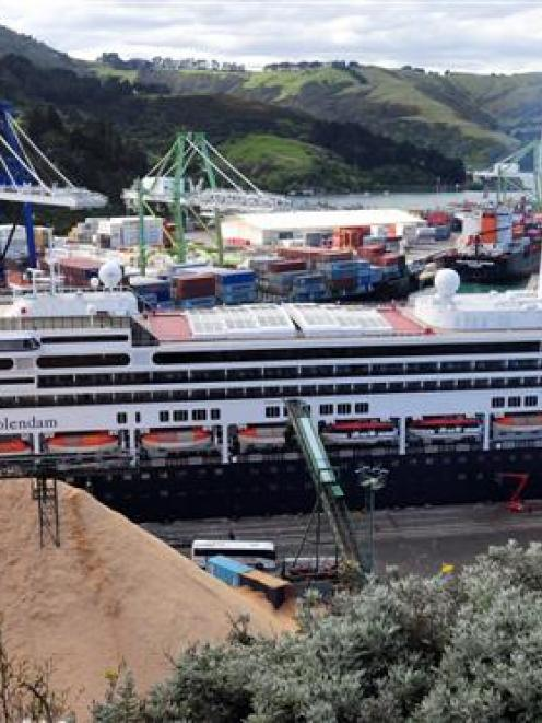 The cruise liner Volendam berthed at Port Chalmers yesterday. Up to 60 passengers on the ship...