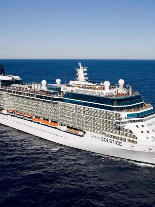 The cruise ship Celebrity Solstice became the longest vessel to visit Dunedin - measuring 317.19m...