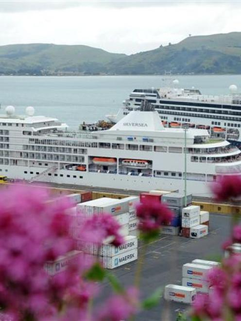 The cruise ships Silver Whisper (foreground) and Volendam, berthed at Port Chalmers yesterday,...