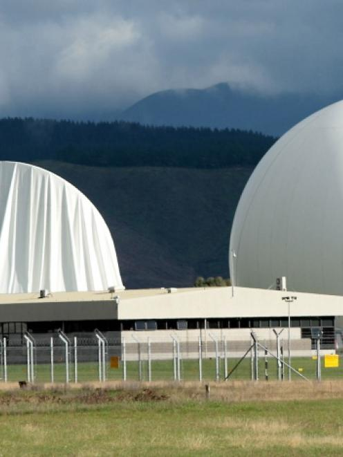 The damaged inflatable cover on the satelite dish at Waihopai Spy Base, after activists deflated...