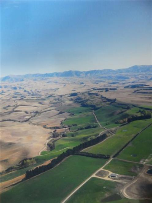 The dramatic effects of irrigation are demonstrated in this aerial photograph of the Ngapara...