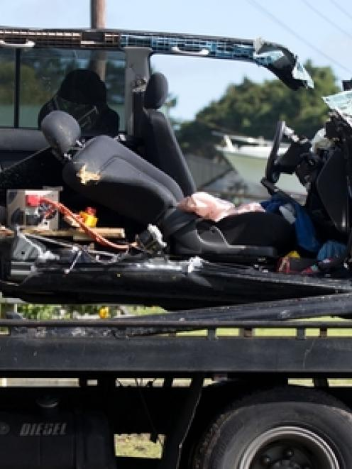 The driver of this vehicle was killed on the Coatesville- Riverhead Highway yesterday. Photo /...