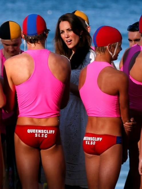 The Duchess of Cambridge talks to junior surf lifesavers during a visit to Sydney's Manly beach....