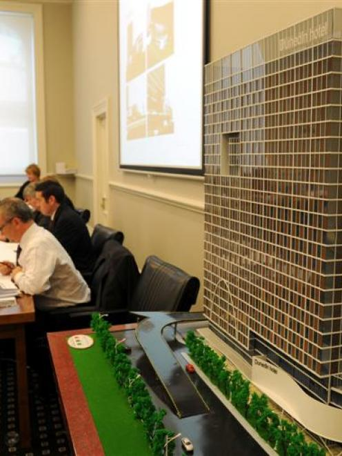 The Dunedin City Council's  resource consent hearing  for the planned 28-storey waterfront  hotel...