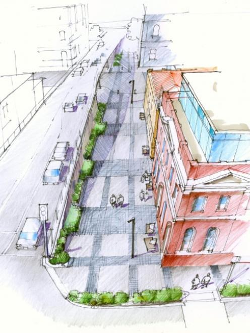 The Dunedin City Council will today consider plans for a new pedestrian ''public realm'' under...