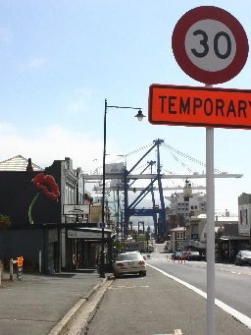 The effectiveness of several temporary 30kmh  speed restriction signs in George St, Port Chalmers...