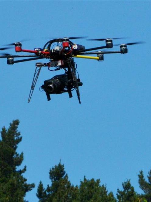 The eight-prop drone used for cricket coverage at University Oval in Dunedin yesterday. Photo by...