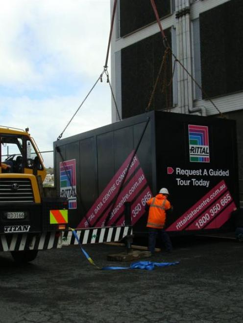 The first container for the Gen-i data centre being delivered last week. Photo supplied.