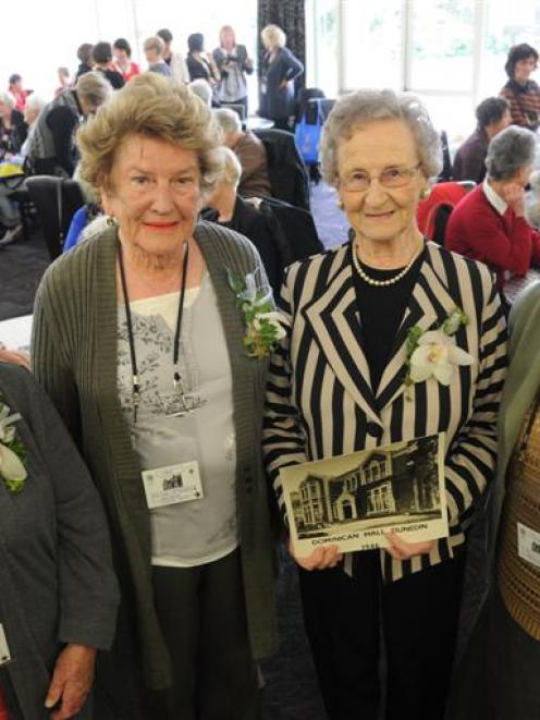 The first residents of Dominican Hall in 1946 included (from left) Mary Dudson and Carmel...