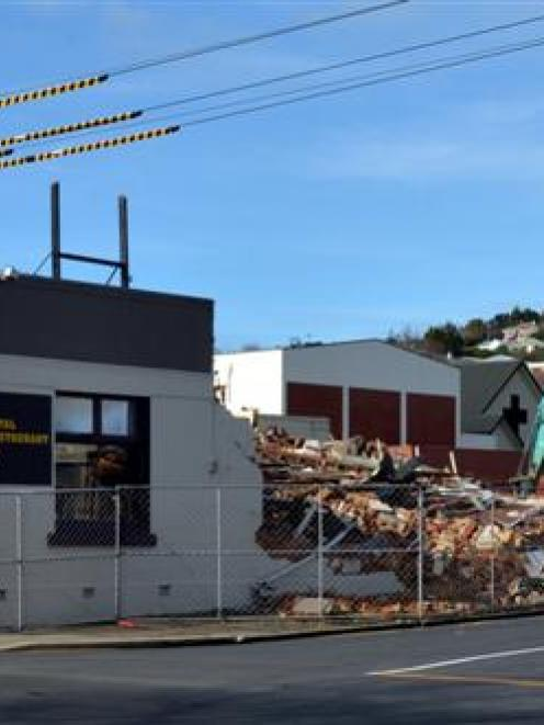 The former Royal Tavern building on Main South Rd, Green Island, is  demolished to make way for a...