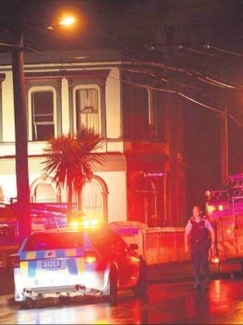 The former Woodhaugh Hotel on Malvern St was the scene of a fire on Thursday morning. Photo:...