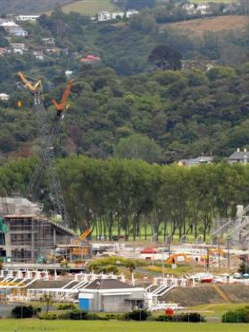 The Forsyth Barr Stadium, pictured from Doon St, Waverley, with the north Dunedin suburb of...