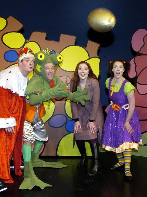 The Frog Prince cast (from left): King (Mark Neilson), Frog Prince (Patrick Davies), director...