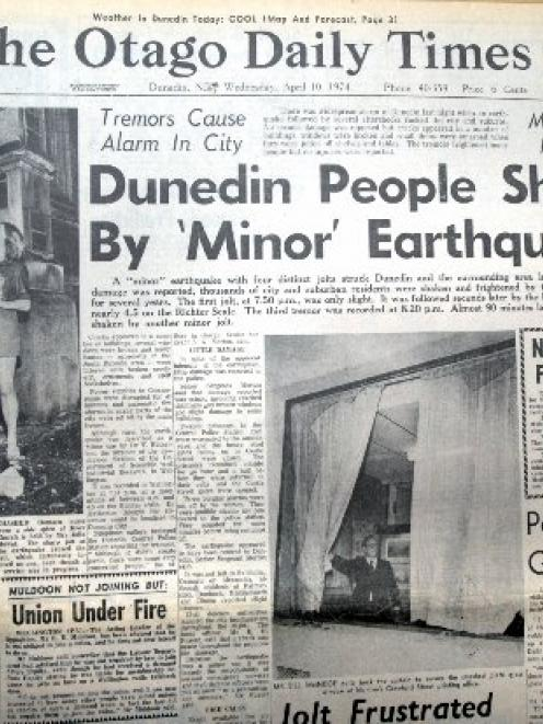 The front page of the Otago Daily Times from April 10, 1974.