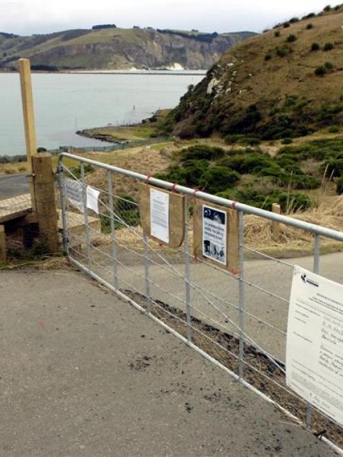 The gate blocking vehicle access to Pilots beach on Otago Peninsula. Photo by Jane Dawber.