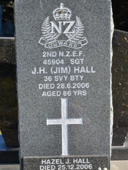 The headstone of Sergeant Jim Hall at Hawksbury Cemetery, Waikouaiti. Photos by Gerard O'Brien.