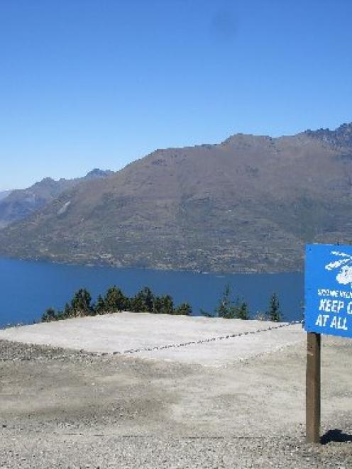 The helipad on Bob's Peak, roughly 400m above Queenstown town centre. Photo by Naeem Alvi.