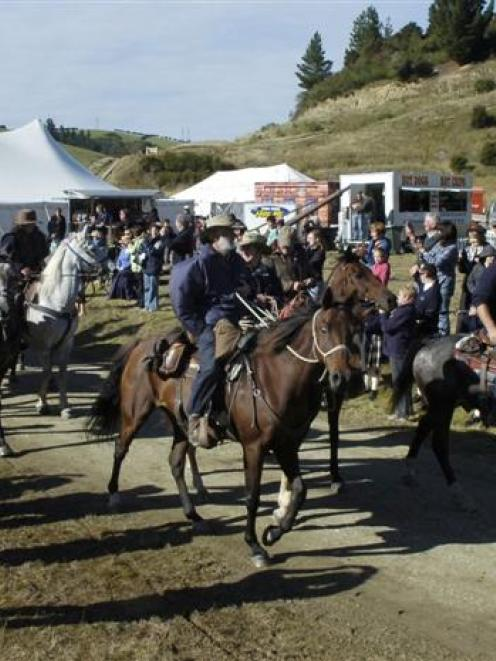 "The horses arrive ""from Dunedin"". Photos by Jane Dawber."