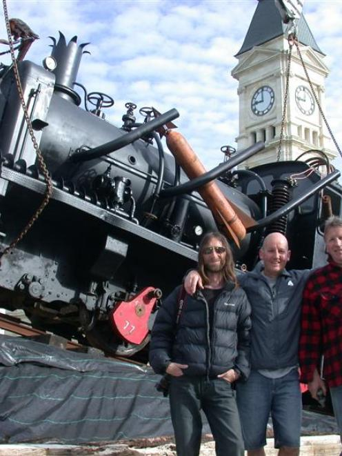 The instigators of a massive Steampunk train creation (from left) Jack Grenfell, Brian de Geest...