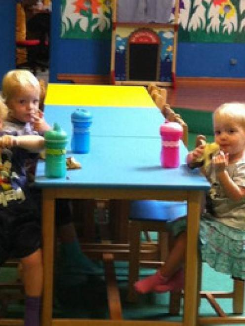 The last picture of the Weekes triplets shows Winkie (left), Jackson and Lillie at the daycare in...