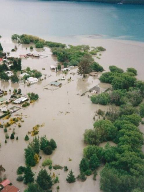The lower margins of Glenorchy showing inundation from Lake Wakatipu on November 19, 1999. Photo...