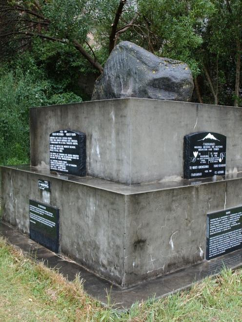 "The memorial near the caves in Portsmouth Dr with which 19th century Maori ""political"" prisoners..."