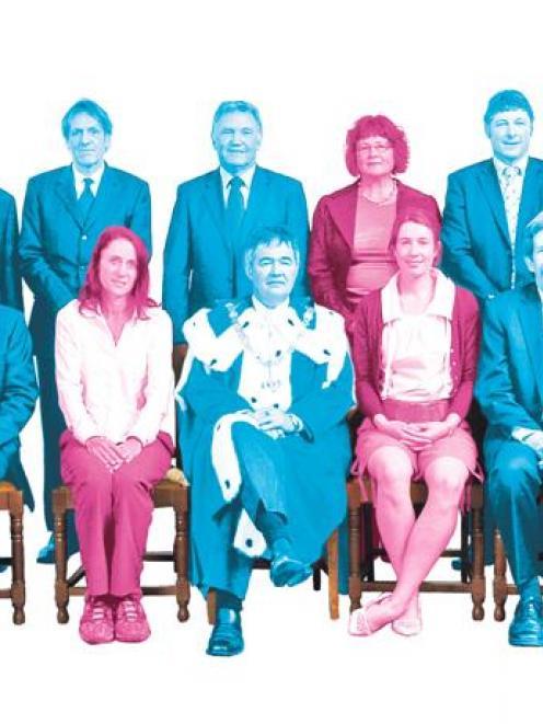 The new Dunedin City Council, with Fliss Butcher (in pink) in the centre of the back row. The...