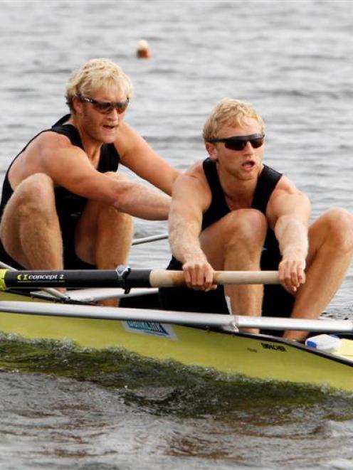 The New Zealand men's coxless pair of Eric Murray (left) and Hamish Bond train on Lake Karapiro...