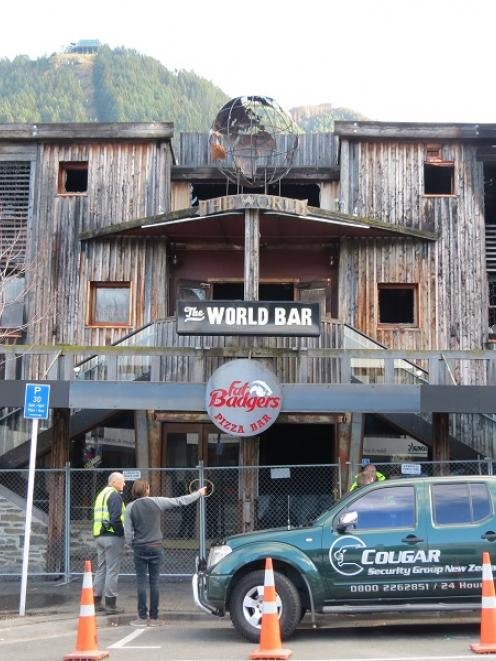 The now demolished World Bar was extensively damaged by fire a year ago. Photo from ODT files