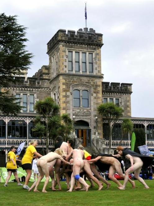 The Nude Blacks take on the Romanian Vampires at Larnach Castle on Saturday. Photo by Gregor...
