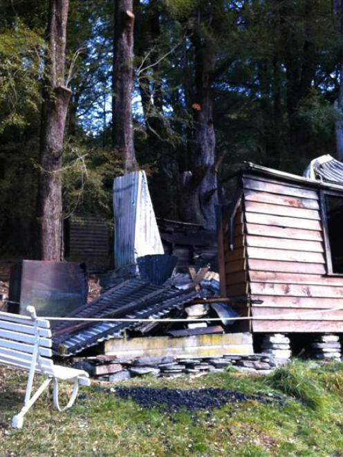 The old school house in Paradise, near Glenorchy, which was  gutted by fire on Sunday night....