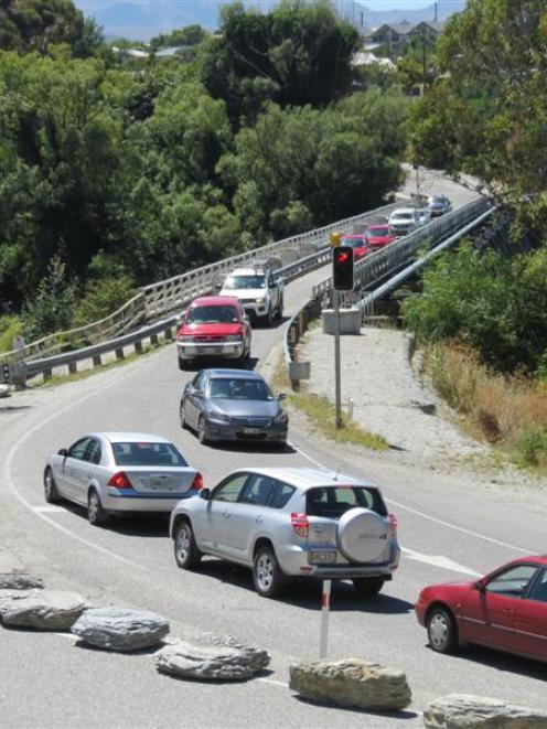 The one-lane Kawarau Falls Bridge can become congested at peak times.  Photo by James Beech.