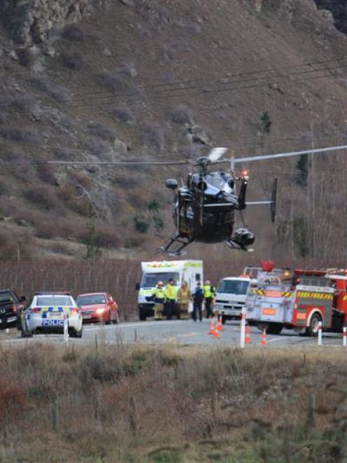 The Otago Regional Rescue Helicopter attends an accident at the Cromwell entrance to the Kawarau...