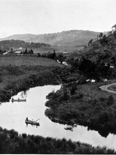 The Owaka River, looking towards Tahora Station. - Otago Witness, 25.10.1911.  Copies of picture...