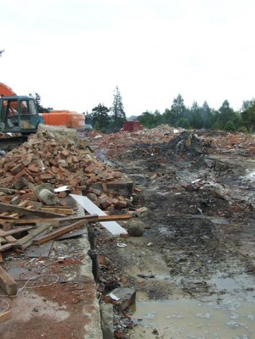 The pile of rubble left by the demolition on Tuesday of the Tapanui Hospital. Photo by Rachel...